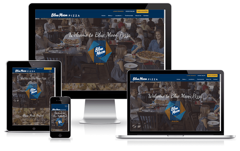 Blue Moon Pizza Website Mockup